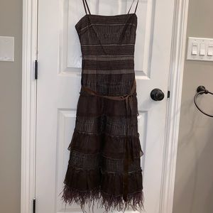 BCBG Maxazria Brown Feather Dress